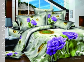 Ericdress Purple Exotic Flower Print 3D Bedding Sets