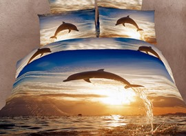 Cool Dolphin Pattern Comfortable 4 Piece 3D Bedding Sets