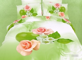 High Pink Rose Print 4 Piece Bedding Sets/Comforter Sets
