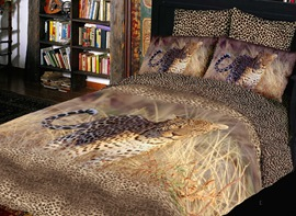 Fascinating Prairie Leopard Pattern 4 Piece 3D Bedding Sets