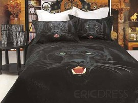 Top Quality Comfortable Black Leopard Pattern 4 Piece 3D Bedding Sets