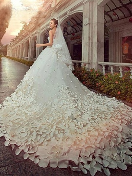 Gorgeous A-line Floor-Length Cathedral Flower Beading Wedding Dress
