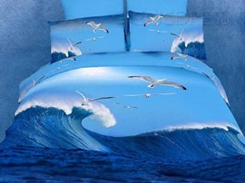 Exquisite High Quality Seagull 4 Piece 3D Bedding Sets