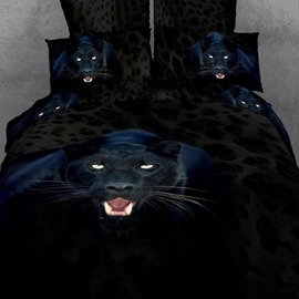 Brilliant Ferocious Black Leopard Pattern 4 Piece 3D Bedding Sets
