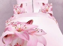 Delicate Lily Flower Pattern Top Quality 4 Piece 3D Bedding Sets
