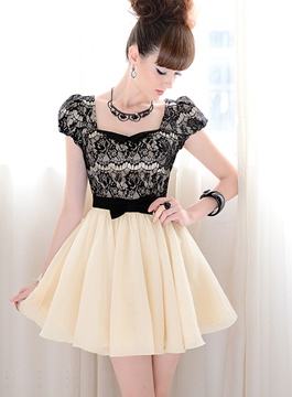 Bow Knot Short Sleeves Lace Dresses
