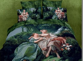 Comely Forest Princess Pattern 4 Piece 3D Bedding Sets