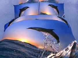 Fascinating Flying Dolphin Surfing Pattern 4 Piece 3D Bedding Sets