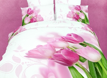 Romantic Love Tulip Print 4 Piece Bedding Sets