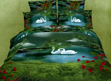 Glamorous High Quality Swan Lake Pattern 4 Piece 3D Bedding Sets