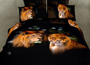 Mild Lifelike Lion With High Quality 4 Pieces Bedding Sets