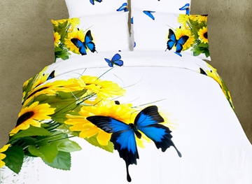 Flamboyant High Quality Blue Butterfly and Sunflower 4 Piece 3D Bedding Sets