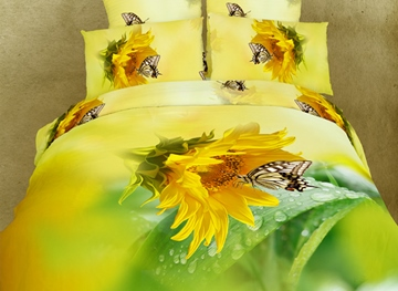 Flamboyant Gorgeous Flower 4 Piece 3D Bedding Sets