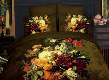 Deluxe Exquisite Flower 4 Piece 3D Bedding Sets