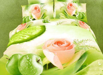 Green Lifelike Pink Roses Print 4 Piece Bedding Sets.Comforter Sets
