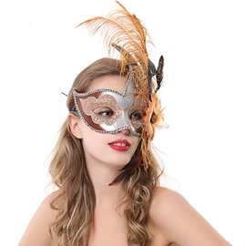 Halloween Dancing Party Chic Sexy Feather and Flower Princess Half Face Mask