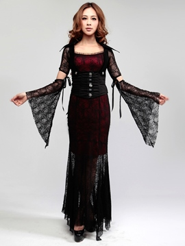 Halloween Gothic Black Witch Queen Vampire Dress Costume