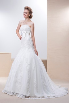 Perfect Trumpet/Mermaid Strapless Chapel Train Wedding Dress