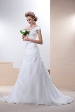 Elegant A-line Off-the-Shoulder Court Train Button Sleeveless Wedding Dress