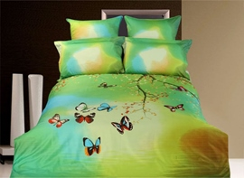 Dreamlike Colorful Butterflies Active Printed 4 Piece Bedding Sets with Cotton