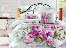Polished 4 Piece Purple Flowers Print Comforter Sets with Cotton