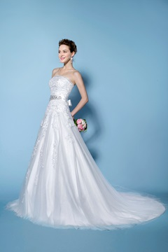 Elegant Appliques A-Line Strapless Wedding Dress