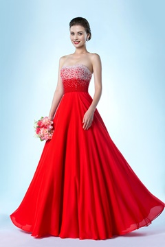 Attractive Strapless A-Line Floor-Length Pearls Evening Dress