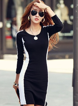 Ericdress Chic Long Sleeves Bodycon Dress