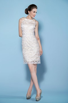 Stunning Sheath/Column Jewel Short-Length Lace Wedding Dress