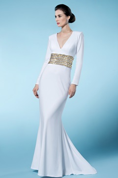 Classical Sheath/Column V Neck Long Sleeves Sequined Mother of the Bride Dress