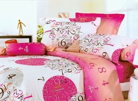 4 Piece Numeral Active Print Comforter Sets of 100% Cotton