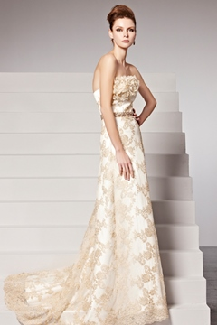 Special Strapless Appliques A-Line Floor-Length Evening Dress