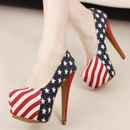 Lovely Stiletto Heel Navy Style Flag Superfine Platform Euramerican Pump Shoes