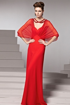 Amazing Sheath/Column Halter Half Sleeves Beading Evening Dress