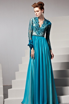 Luxurious A-Line Scalloped-Edge Neckline Feather Evening/Prom Dress