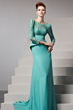 Sexy Bateau Neckline Draped Backless 3/4-Length Sleeves Evening/Prom Dress
