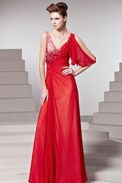 Fascinating Sheath One-Shoulder V Neck Beading and Flowers Evening Dresses