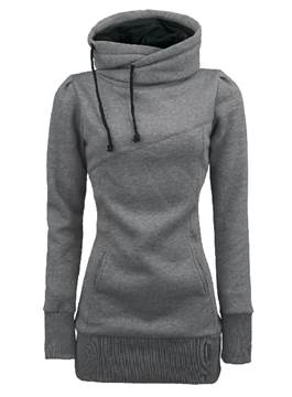 Ericdress Solid Color Turtleneck Hoodies