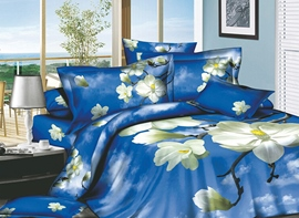 Wonderful Blue Sky and White Cloud 4 Piece Cotton Bedding Sets with Flowers Printing