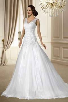 Fantastic V-Neck Beading&Sequins Chapel Train Sleeveless Tulle Zipper-up Wedding Dress
