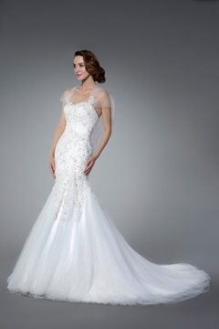 Amazing Sweetheart Appliques&Sequins Chapel Train Sleeveless Trumpet/Mermaid Wedding Dress