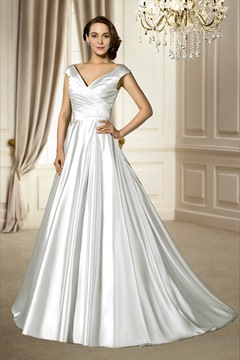 Trendy V-Neck Button Chapel Train Sleeveless Zipper-up Wedding Dress