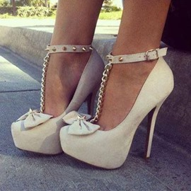 Bowknot T-Strap Stiletto Prom Shoes