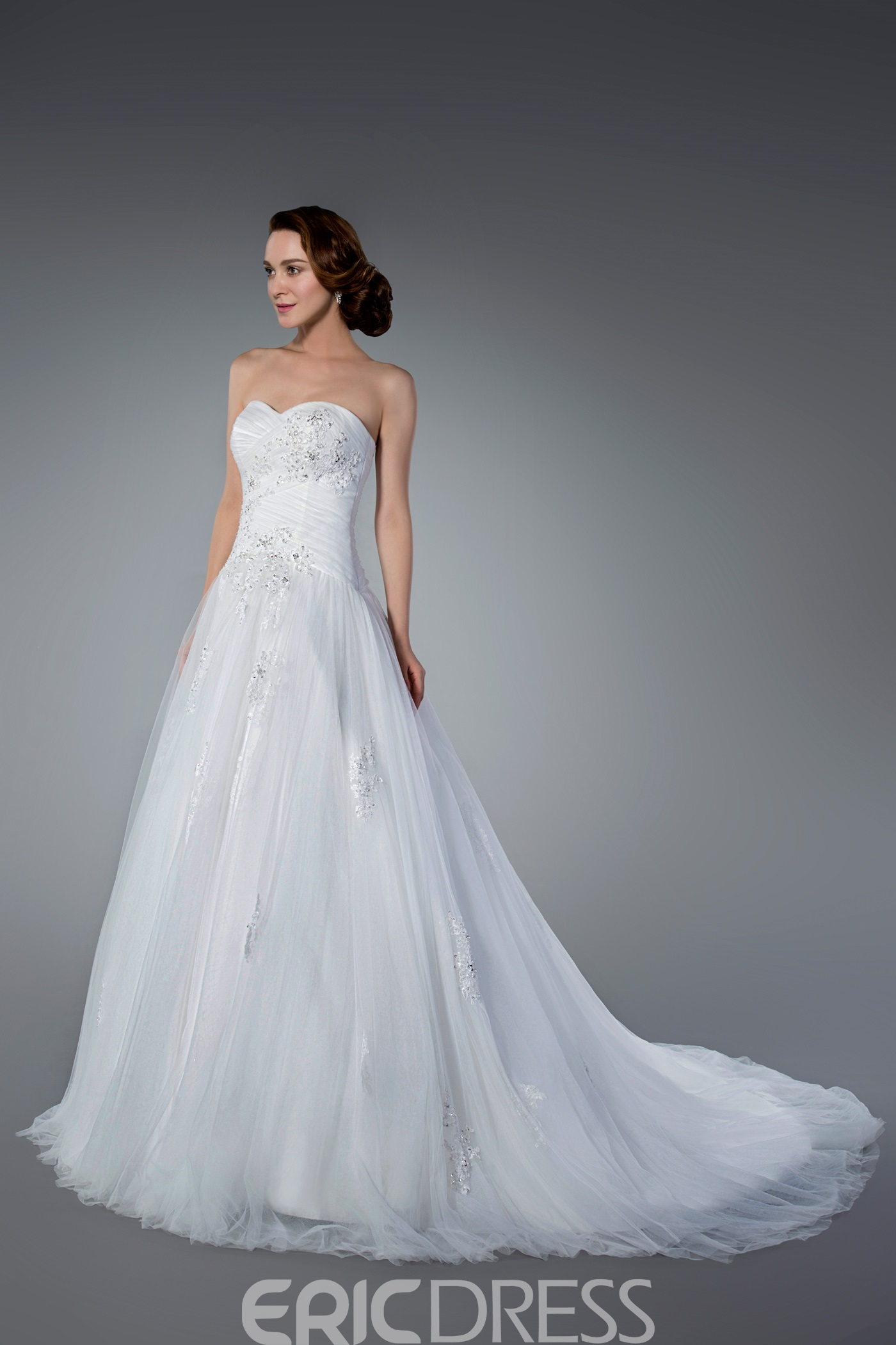 Fashionable Appliques&Sequins Tulle Strapless Sleeveless Wedding Dress 10786153