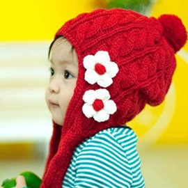 Cute Flower Decorated Knitted Kids Hat
