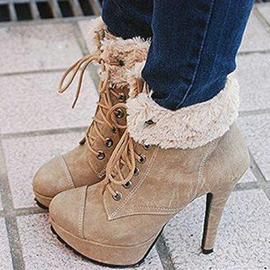 Ericdress Camel Lace-up High Heel Boots
