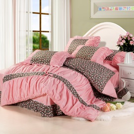 Priness Pastoral Floral Lace Edge Bowknot 4 Piece Bedding Sets