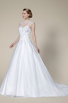 Graceful Beading Applique Zipper-Up A-Line Court Train Wedding Dress