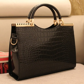 Vintage Patent Leather Croco Handbag