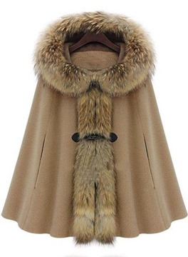 Ericdress Batwing Fur Collar Hooded Coats